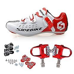 TXJ Rennradschuhe Fahrradschuhe Radsportschuhe mit Klickpedale EU Größe 44 Ft 27.5cm (SD-001 Weiß/Rot)(Pedale rot)