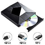 PiAEK Grabador DVD CD Externo USB 3.0 y Unidad óptica Tipo C Lector DVD Externo, Unidad de CD-RW/DVD-RW portátil para Windows/PC/Notebook/Laptops/Desktops, Negro