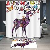 NYDZDM Tenda da doccia in Poliestere, Il Piccolo Cervo nella Foresta 3D Poliestere Tenda Doccia Modello Animale per la Decorazione del Bagno (Size : 100X200CM)