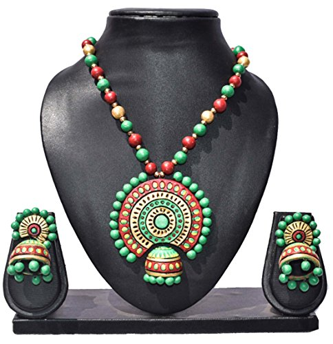 Pentacrafts Terracotta Art Designed Women Girl Necklace Set, Color Multi (Green)