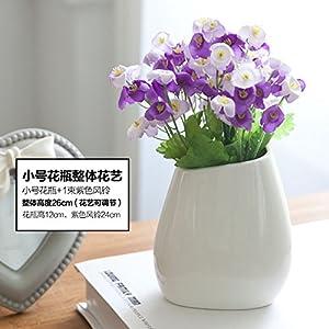 Mesmj Flores Artificiales creativos Ramos de Novia Moderno Minimalista decoración jarrones de cerámica,PurpleCalla Azucenas