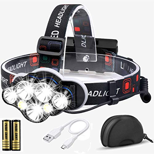 Stirnlampe, 12000 Lumen Brighest 7 LED kopflampe