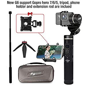 Feiyu G6 Upgraded version gimbal for Gopro Hero 7/6/5/4/3,SJcam, Yi 4K or similar size for Action camera,including tripod and extension Rod