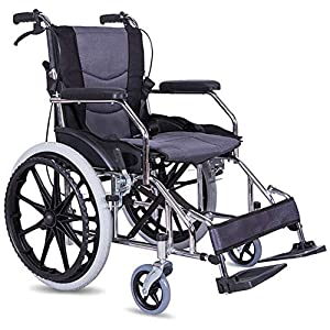 ACEDA Transport Wheelchair With Lightweight Thick Steel Frame,12.5Kg Folding Chair Is Portable,Front And Rear Brake,43Cm Wide Seat,Foot Pedal Adjustable, Antimicrobial Protection,Gray