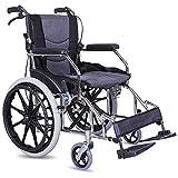 ACEDA Faltbarer Rollstuhl Mit Hohen Griffen,Leichtgewichtrollstuhl Medical Metallic,12.5Kg Transportrollstuhl Reiserollstuhl,Sitzbreite 43Cm,Fußpedal 3 Höhenverstellbar,Grau