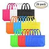 26 Pcs Reusable Tote Bags Blank Canvas Party Favor Gift Bags Colorful Non-Woven Polyester Carrying Grocery,12.5' x 10'