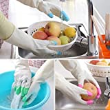 #5: New Aaiffel Reusable Waterproof Household Latex Gloves for Kitchen Dish Washing Laundry Cleaning Gardening