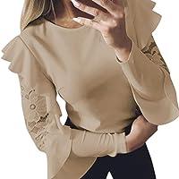 Geili Frauen Feste Lange Hülsen Spitze Nähende Oansatz T-Shirt Pullover Tops Damen Frühling Bluse preisvergleich bei billige-tabletten.eu