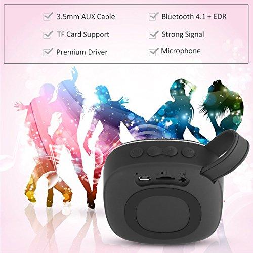 Dezuo Altavoz Portátil, Bocina Bluetooth Version 4.1+EDR con Audio HD, Graves mejorados, Radio FM, micrófono Incorporado y Ranura para Tarjetas Micro SD (Negro)