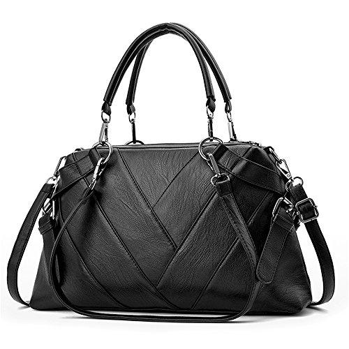 Damen Handtaschen schwarz Groß Taschen Leder Damen handtasche Schultertasche Frauen Umhängetasche (Schwarz D)