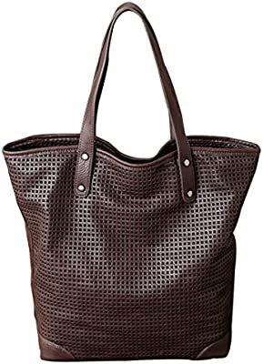 Wewod Bolso de cuero las mujeres ahueque hacia fuera los grandes sacos a granel bolso cuero mano Bandolera 29* 37 * 14 cm (Largo * Alto * Grueso)
