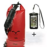 HAWK Outdoors Dry Bag - wasserdichter Packsack mit gepolsterten Schulter-Gurten inklusive wasserdichter Handy-Hülle - 30L/10L - Stausack Seesack - Wasserfester Rucksack - Kanu-Fahren, Rafting, Segeln