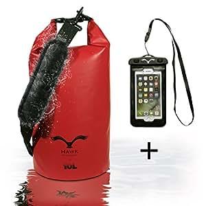 HAWK Outdoors Dry Bag - wasserdichter Packsack mit gepolsterten Schulter-Gurten inklusive wasserdichter Handy-Hülle - 10L - Stausack Seesack - Wasserfester Rucksack - Kajak, Rafting, Segeln, Surfen