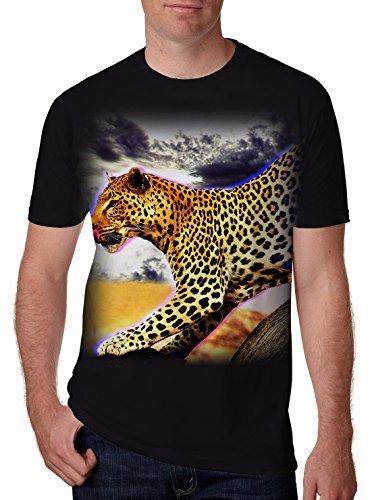 Leapparel Unisex 3D Gepard Leopard Graphic Print Kurzarm Lustige T-Shirt Top für Jungen und Mädchen Schwarz S (Spandex Print Leopard)