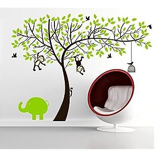 Aardvark Art Affe und Elefant Spielen auf Baum-Wandtattoo Wandaufkleber Wandsticker für Kinderzimmer Dekoration