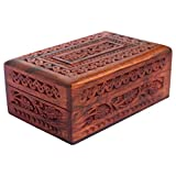 #7: ITOS365 Handmade Wooden Jewellery Box for Women Jewel Organizer Hand Carved with Intricate Carvings Gift Items - 6 Inches