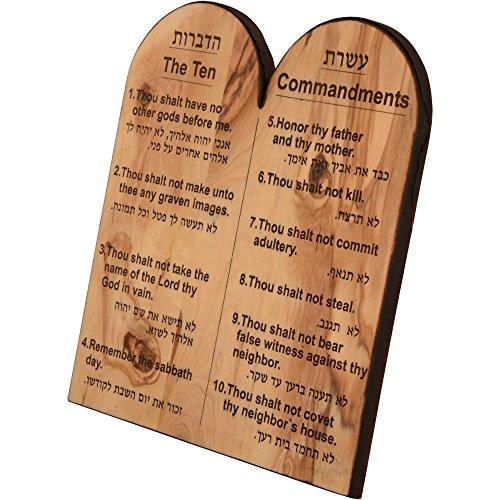 Das Jerusalem Geschenk Shop Gravur der Zehn Gebote aus Olivenholz in Hebräisch und englisch