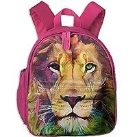 Watercolor Lion Double Zipper Waterproof Children Schoolbag Backpacks with Front Pockets for Kids Boy Girl