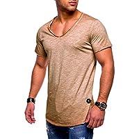 Ketamyy Hombre Color Puro Algodón V Cuello Sección Delgada Manga Corta Camiseta