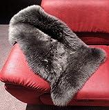 Schaffell grau-schwarz. Absolut geruchsarm und super-zarte Erstwolle. Echtes Leder, Naturwolle ca. 4-5 cm. Lederlänge ca. 90 cm