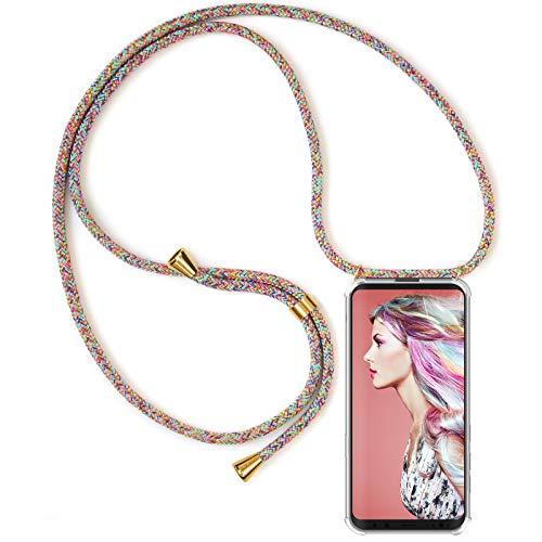 Zhinkarts Handykette kompatibel mit Samsung Galaxy S8 - Smartphone Necklace Hülle mit Band - Schnur mit Case zum umhängen in Rainbow