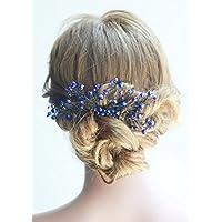 Missgrace nuziale e donne cristallo blu navy gioielli da sposa blu capelli  pettine cristallo capelli clip 34cd69a238fb