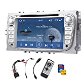 Doppel-DIN-Car DVD-Player Stereo-Silber f¨¹r Ford S-Max 2008-2012 Fokus 2008-2010 Galaxy 2010-2012 Touchscreen mit GPS navi AM / FM RADIO / Sub / AUX / iPod / Auto-Firmenzeichen Ver?nderung eingebaute bluetooth + Fernbedienung