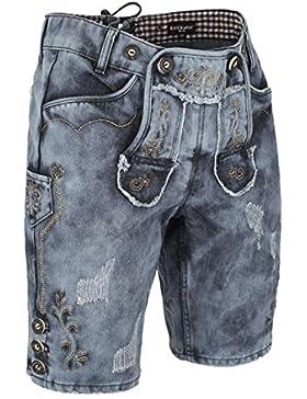 Krüger Herren Buam Herren Jeans Lederhose, blau,