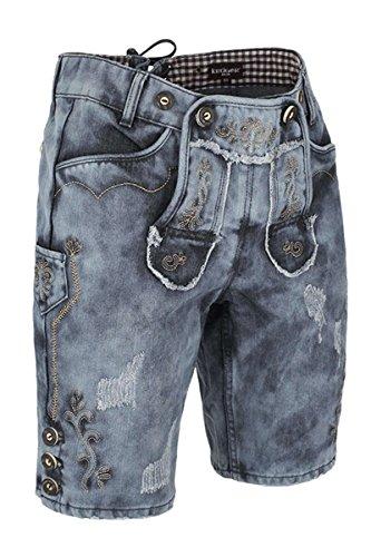 Krüger Herren Buam Herren Jeans Lederhose, blau, 50