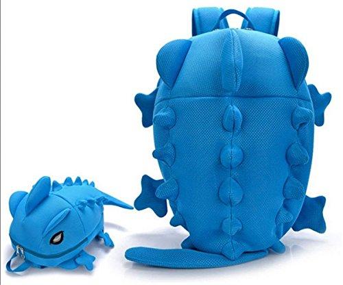 Niedlichen Cartoon Rucksack 3D Monster Dinosaurier Schultaschen f?r Jugendliche Buch Tasche Satchel Mochila - gr?n Blau