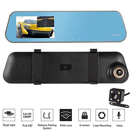 Espejo Retrovisor para coche - LESHP 4,3´´ HD 1080p 32GB 170˚ Doble Lentes de Cámara con Visión Nocturna