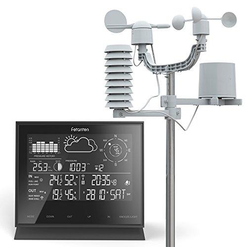 Professionelle Wetterstation, LCD IN / OUT Wireless-Wetterstation mit Regenmesser/ Windgeschwindigkeit und Richtung/ UV