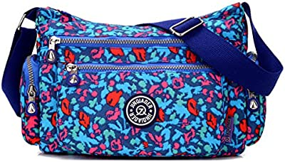 Tiny Chou ligero impermeable Nylon Bolsa de hombro crossbody Messenger Bag con muchos bolsillos de cremallera