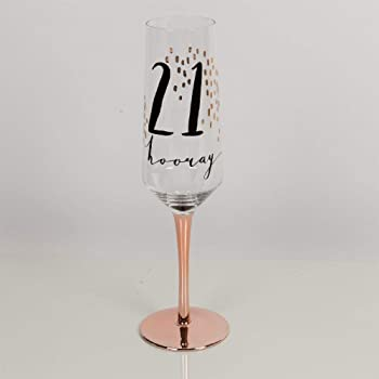 6585d95965f Widdop And Co Hotchpotch Luxury Champagne Prosecco Flute Glass Rose Gold  Stem 21st Birthday
