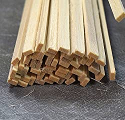 WWS Balsa Wood Strips 3.2 x 6.5 x 305 mm (1/8 x 1/4 x 12 inch) - 45 Pack - Model Making Craft Aircraft Ship