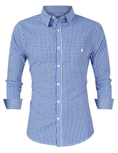KOJOOIN Trachtenhemd kariert Herren Hemd Freizeithemd Landhausstil Langarmhemd Slim fit Hemd Bestickt Baumwolle - für Oktoberfest, Business, Freizeit(Verpackung MEHRWEG),Blau-3mm,M