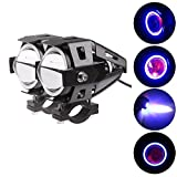 PR U7 Fog Light Lamp Projector Lens With Low Beam High Beam & Strobe Function Angel Light Color: Blue, (Devil eyes color :Red) For Motorcycle Bike Scooter Led Super Power Spot Beam Light For Hero Passion Xpro Drum Kick Spoke 2 Pcs