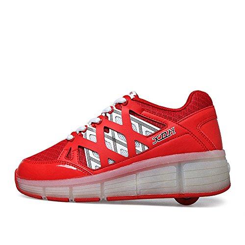 Fzuu 2.017 Crianças Engraxando Sapatos Para As Meninas Com Rodas Levou Sneakers Leves Patins Luz Bebê Vermelho Juvenil
