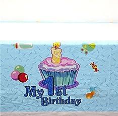 Premium Quality My 1st Birthday theme Table Covers / My 1st Birthday Happy Birthday Party Supplies / Happy Birthday Party Decoration / My 1st Birthday Birthday Party Table Cloth / Table Covers for Dining Table / Table Cover for Kids Birthday (Blue)