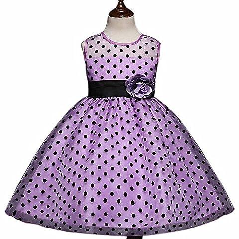 Wenseny Girls Dresses Dot Flower Polka Dot Swing Rockabilly Dress