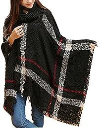 Ghope Femme Pull Poncho cape Haut hiver Pullover en tricot à col roulé de plissés
