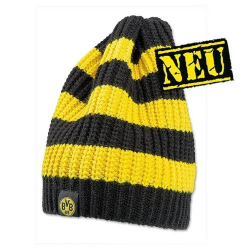 BORUSSIA DORTMUND BVB 09 KNITTED BEANIE HAT WITH STRIPES