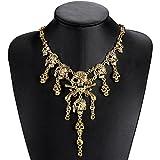 LUOEM Collar del cráneo del pirata de la vendimia Collar gótico del collar de la gargantilla de la declaración gótica (de oro)