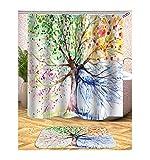 AieniD Badezimmer Dekoration Beige Muster des Baumes Mehrfarbig Bad Vorhang Size:180X180CM