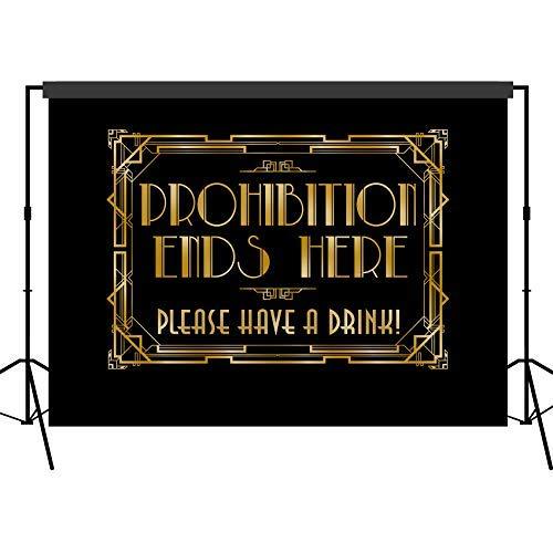Musykrafties Roaring 1920er Gatsby Prohibition Ends Here Hintergrund Fotografie Hintergrund Party Wand Photo Booth Props für Geburtstag Anlässe Hochzeit Junggesellinnenabschied - 5x7 FT (Gatsby Foto Requisiten)
