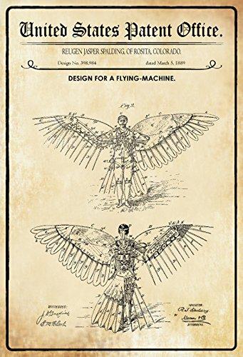 US Patente - Design for A Flying Machine - Entwurf für eine Flugmaschine - Spalding, Colorado 1889 - Design No 398.984 - schild aus blech, metal sign, tin (Flying Metal Sign)