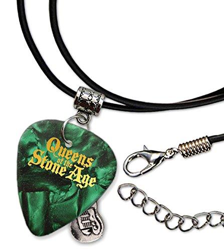 Queens Of The Stone Age Púa de Guitarra Collar de la Cuerda Necklace Green Pearl ( GHF )