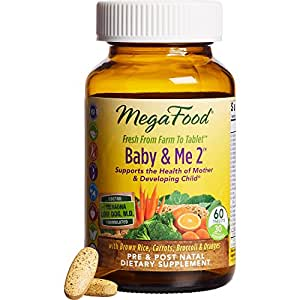 MegaFood - Baby & Me 2, Key Nutrients Vital to Prenatal Support of Both Mother & Baby, 60 Tablets