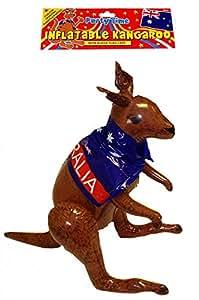 Kangourou gonflable avec cape aux couleurs de l'Australie 65 cm