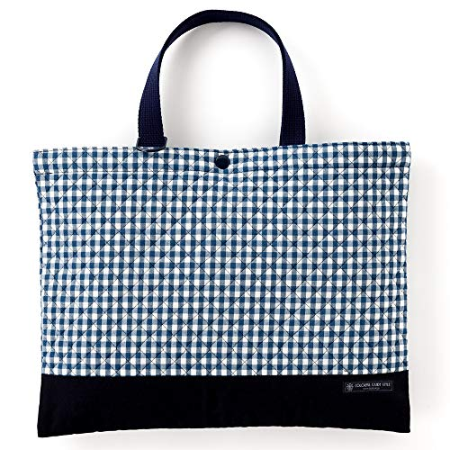 Kids lesson bag of handmade sense (quilting) check large, dark blue, dark blue x Ox made in Japan N0230900 (japan import)